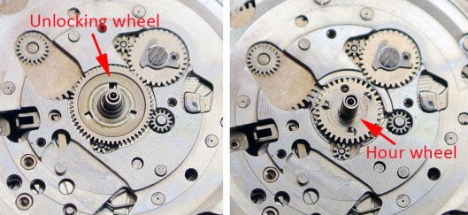 Bellmatic unlocking wheel and hour wheel