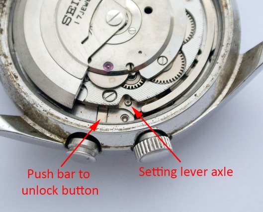 Crown and button release