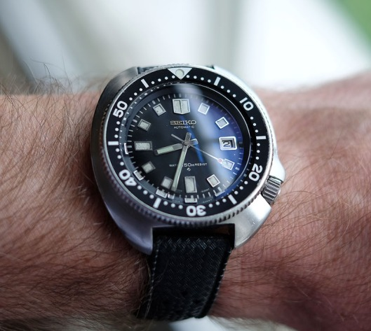 Seiko 6105 on the wrist