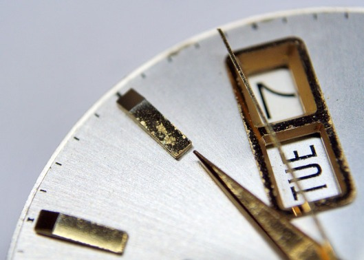 Tarnished hour markers