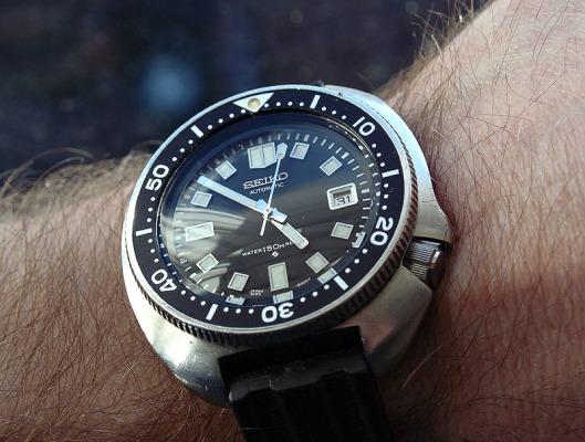 Seiko 6105 on wrist