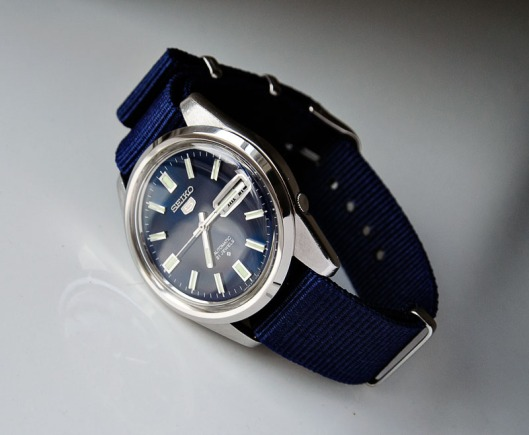 Seiko 6119-8083 on blue NATO