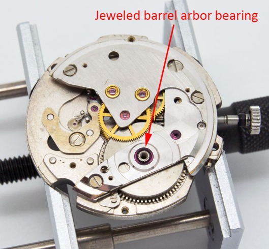 Jeweled barrel bearing