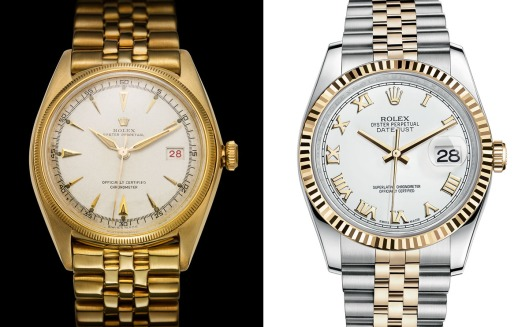 The first DateJust (reference 4467) from 1945 (left) and the 116233 from 2015 (right).