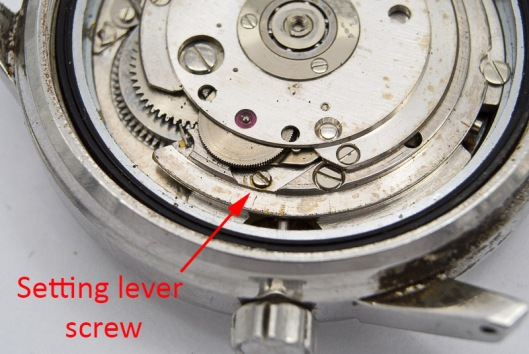Setting lever screw