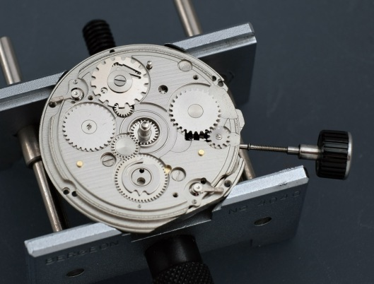 The auxiliary plate on an Orient watch movement