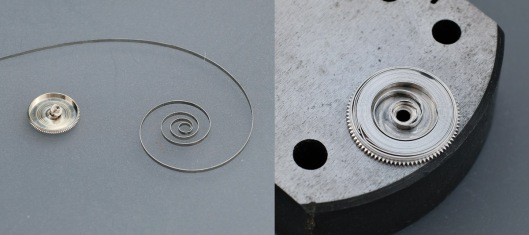 A watch mainspring, uncoiled and fitted