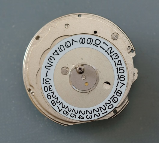 Dial side of an Orient watch movement
