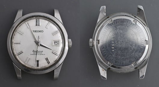 Front and rear aspects of a Seiko Seahorse watch