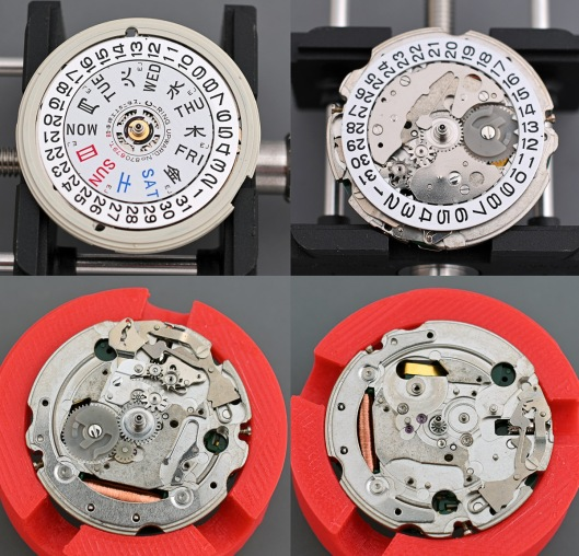 A 2 by 2 gallery of photos showing the dismantlng of the calendar side of the movement