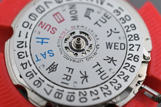 The day and date disks fitted to the movement