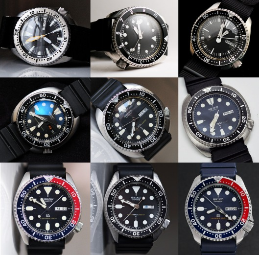 A 3 by 3 gallery of photographs of Seiko 150m diver's watches