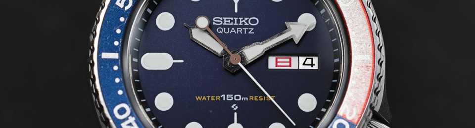 A face-on view of the finished watch on its strap
